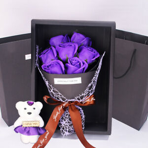 7PCS Valentine's Day Gift Rose Flower Bear Artificial Bouquet Soap Gift Box