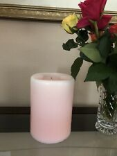 "Partylite Large 3 Wick Candle 6"" x 8"" Light Pale Pink #1021 Strawberry Burned 1x"