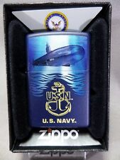 """Zippo """"USN NAVY"""" - SOUS-MARIN - Bleu mat - & - #672"""