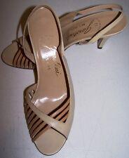 VTG 80s GAROLINI Beige Sling-Backs 7-1/2m High Heels Open-Toes Made in ITALY