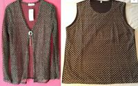 NEW LADIES TWIN SET SILVER EMBROIDERY SPARKLY BLACK 2 IN 1 TOP & JACKET *SALE*