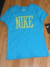 NWT - Nike short sleeved turquise & lime green top - small (8) girls
