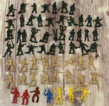 Lot 60 Vintage 1980s Plastic Toy Army Men Soldiers Cowboys Indians MPC Nostalgic