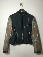 =RARE= DRIES VAN NOTEN Navy Blue Print Ethnic Embroidered Embellished Jacket US6