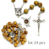 24pcs Jerusalem Blessed Handmade Olive Wood Prayer Rosary Beads with Holy Soil