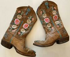 Macie Bean Floral Embroidered Boots Rose Garden Girls Sz 10 style 8012