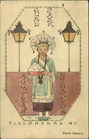 Swedish Easter - Little Girl Native Costume Eggs - Signe Aspelin c1910 Postcard