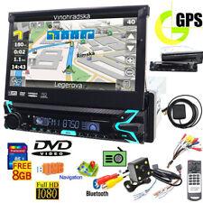 "Single 1 DIN 7"" HD Flip Up GPS Navigation Car Stereo CD DVD MP3 Player Radio MAP"