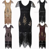 Ladies 20s 30s 1920s Roaring Flapper Costume Sequin Gatsby Fancy Dress Plus Size