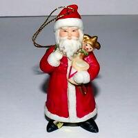 Christmas Ornament Ceramic SANTA CHRISTMAS TRADITIONS GOLD LABEL w/ Jester