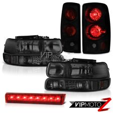 2000-2006 Tahoe Z71 Bumper Headlights Black Smoke Tail Lights Roof Brake LED Red