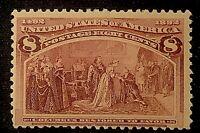 US Stamp Scott #236 Mint OG H 8 Cents Columbian Exposition 1893