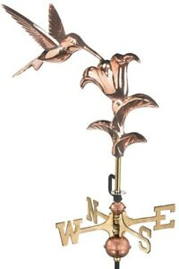Weathervane Hummingbird Cottage Design in Pure Copper Finish with Roof Mount