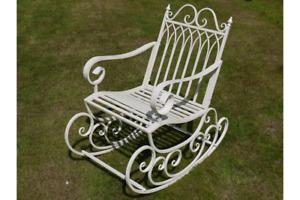 Rocking Chair Bench Cream Shabby Chic Vintage Style Garden Seat