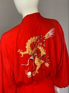 Vintage Chinese Silk Robe Hong Kong 1970's Red with Dragon Size L