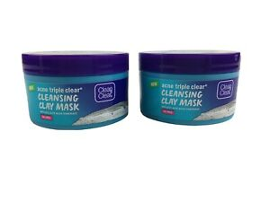 2 Clean & Clear Acne Triple Clear CLEANSING CLAY MASK 3.5oz Aloe + Mint Oil-Free