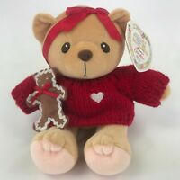 "Cherished Teddies Cookie 6"" Plush Teddy Bear Red Sweater Gingerbread 662232 1999"
