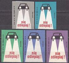 POLAND 1968 Matchbox Label - Cat.Z#894 set, Traffic Safety - Do not Blind!