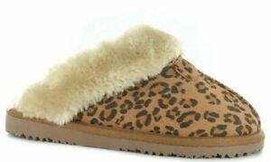 Ella Jill Faux Fur Leopard Print Warm Comfy Memory Foam Slippers Mules