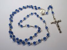 rosary beads blue prism bead silver tone cross crucifix mother Mary joiner