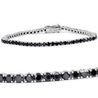 15Ct Round Sparkle Black Diamond Tennis Bracelet 18K Real White Gold Finish