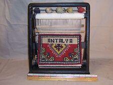 Vintage Antalya wool rug carpet advertising store display miniature loom