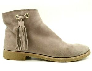 Kate Spade Brown Leather Side Tassel Zip Up Ankle Boots Shoes Women's 9 M