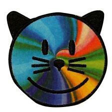 Rainbow Cat Happy Face Smiley Multi Color Iron On Badge Applique Patch KN 712B