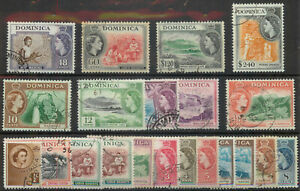 Dominica 1951 Elizabeth II set with shades SG 140-158 used A077 *COMBINED POST