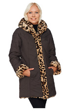 Dennis Basso Faux Fur & Water Resistant Puffer Reversible Coat, Size M, $169