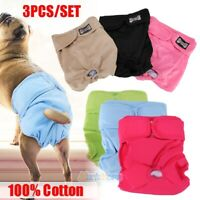 3Pcs Washable Dog Diaper Female Pet Pant Reusable Puppy Doggie Diapers S/M/L/XL