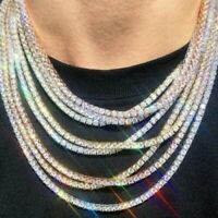 Diamond Gold Silver Men Women Hip Hop Tennis Rhinestone Necklace Choker Chain