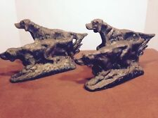 ATQ HUNTING DOG IRISH POINTER SETTERS BOOKENDS METAL COPPER BRONZE TONE