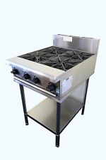 COMMERCIAL S/S CATERWARE GAS FOUR BURNER COOKTOP ON STAND (LPG OR NATURAL)