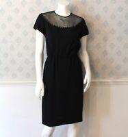 Vintage R&K Originals Black Crepe Short Sleeve Rhinestone Accented Collar Dress
