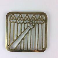 Mid Century Modern Solid Brass Trivet Hot Pad Abstract Asparagus Design