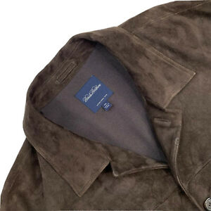 Mens 2XL Brooks Brothers Brown 100 % Suede Heavy Button Up Patch Pocket JCoat