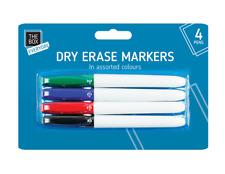 Dry Erase Markers 4 Pens Thin Slim Marker Board Whiteboard Dry Wipe Clean Kids