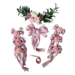 Pack of 9 Wedding Car Decor Set DIY Silk Flower Ribbon and Bow Set Limousine Car