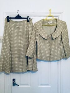Kaliko Women's Size 12 Soft Pistachio Green & Ivory Polka Dot Suit (Wedding)