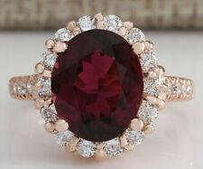 5.55 Carat Natural Tourmaline 14K Rose Gold Diamond Ring