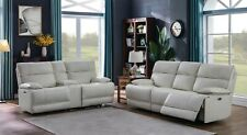 TOP GRAIN WHITE LEATHER POWER RECLINING SOFA LIVING ROOM FURNITURE