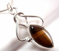 Tiger Eye Marquise Necklace Exquisitely Accentuated 925 Sterling Silver New