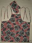 Patriotic American Flag Firemen Apron & Mitt BBQ Cotton Hand Made in the USA