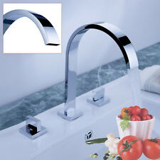 Dual Handles Cold & Hot Water Bathroom Vanity Sink Brass Faucet Chrome Mixer Tap