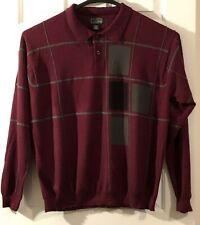 Cezani Men's Sz XL Maroon Half Button Mock Neck Pullover Long Sleeve Sweater