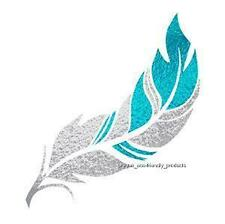 FEATHER FOIL TATTOO SILVER AND TURQUOISE  TEMPORARY TATTOO