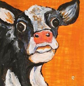 """""""Smoochy Moo"""" Original Painting- De Martino Art"""