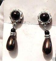 Superbes boucles d'oreilles clips bijou vintage couleur argent cristal perle 191