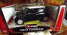 RARE 1/18 BURAGO GOLD COLLECTION - Mini Cooper  White/Green Boxed